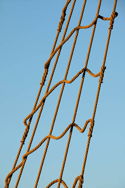 Rope ladder of a reconstructed pirate's ship.